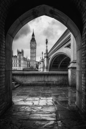 Big Ben bei Regen, London, England